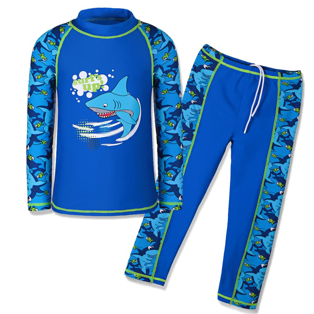 HUANQIUE Boys Swimsuit UPF50+ UV Two Piece Protective Navy Long 5-6 Years