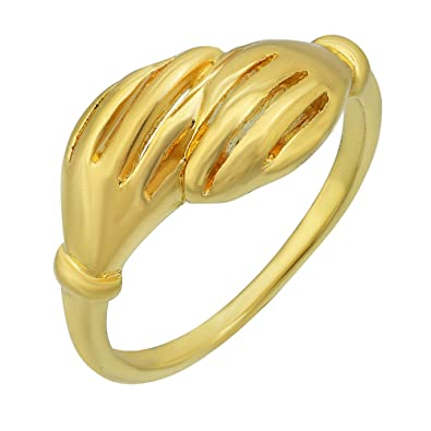 Buy Missmister Gold Plated Brass Handshake Design Fashion Finger Band Latest Design Finger Ring Men Women At Amazon In