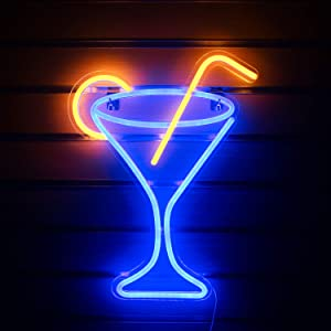"""Cocktail Glass Neon Signs Led Neon Sign Light Big Night Light for Room Decor Light Bar Pub Beach Shop Game Office Restaurant Concert Hall Wall Art Decoration Sign USB Operated (17""""x 13"""")"""