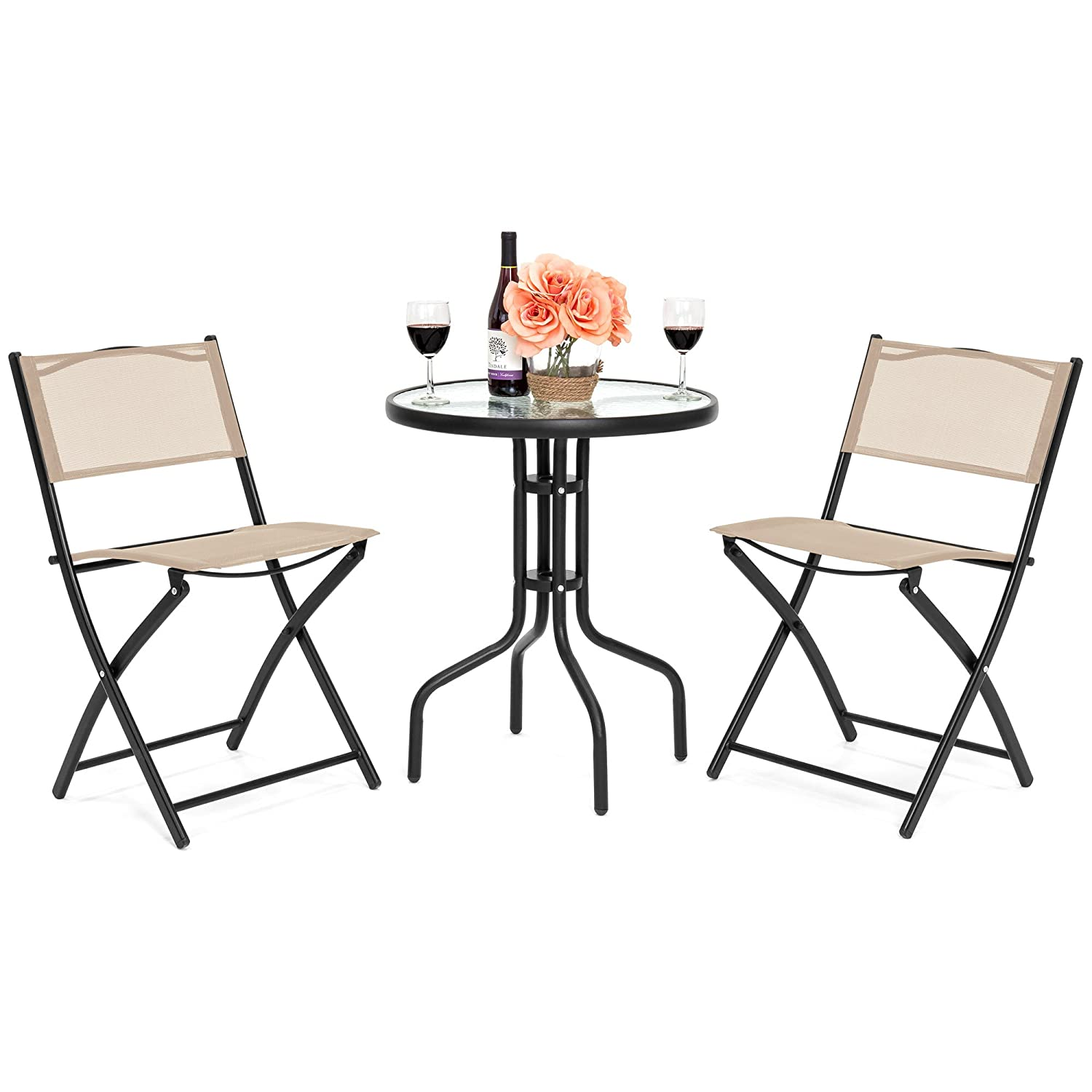 Best Choice Products 3-Piece Patio Bistro Dining Furniture Set w Round Textured Glass Table Top, 2 Foldable Chairs – Tan
