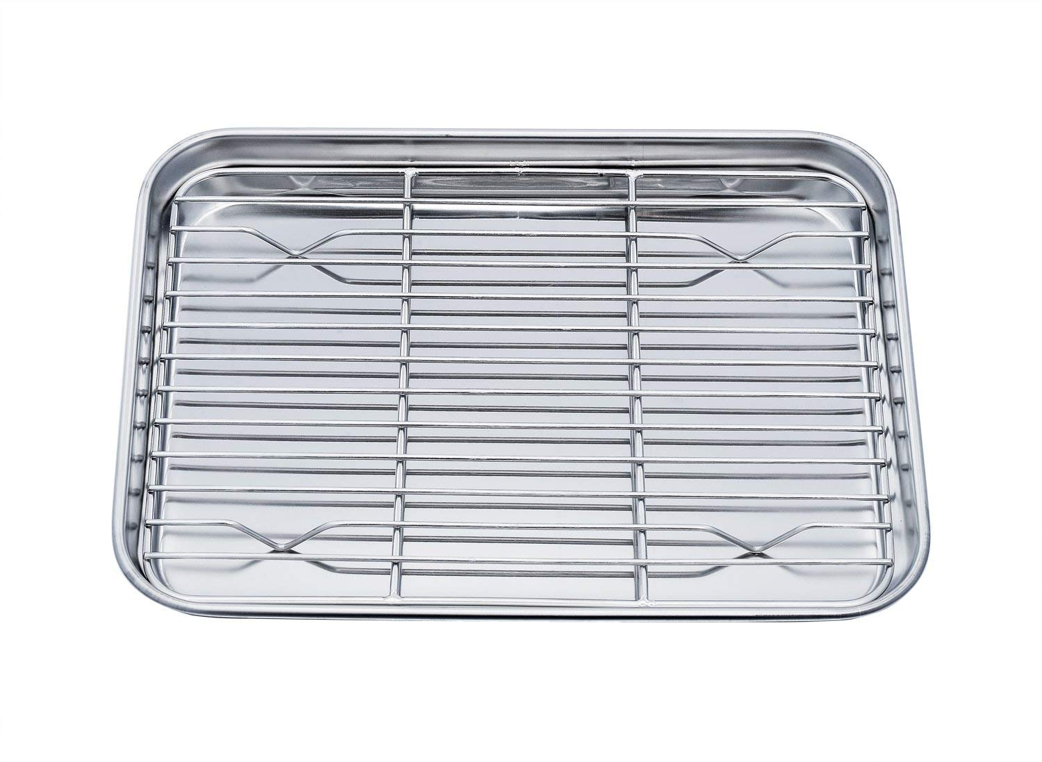 TeamFar Toaster Oven Pan Tray with Cooling Rack, Stainless Steel Toaster Ovenware broiler Pan, Compact 8''x10''x1'', Healthy & Non Toxic, Rust Free & Easy Clean - Dishwasher Safe (Renewed)