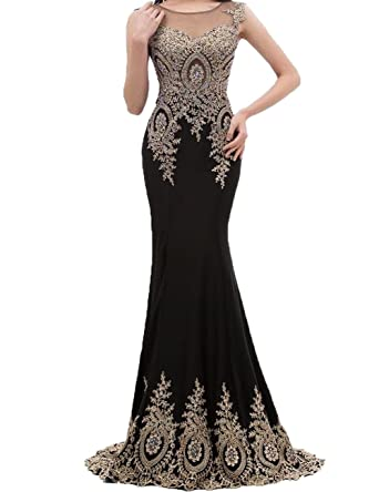 JAEDEN Women Evening Dresses Lace Mermaid Prom Dress Gown Formal Black US2