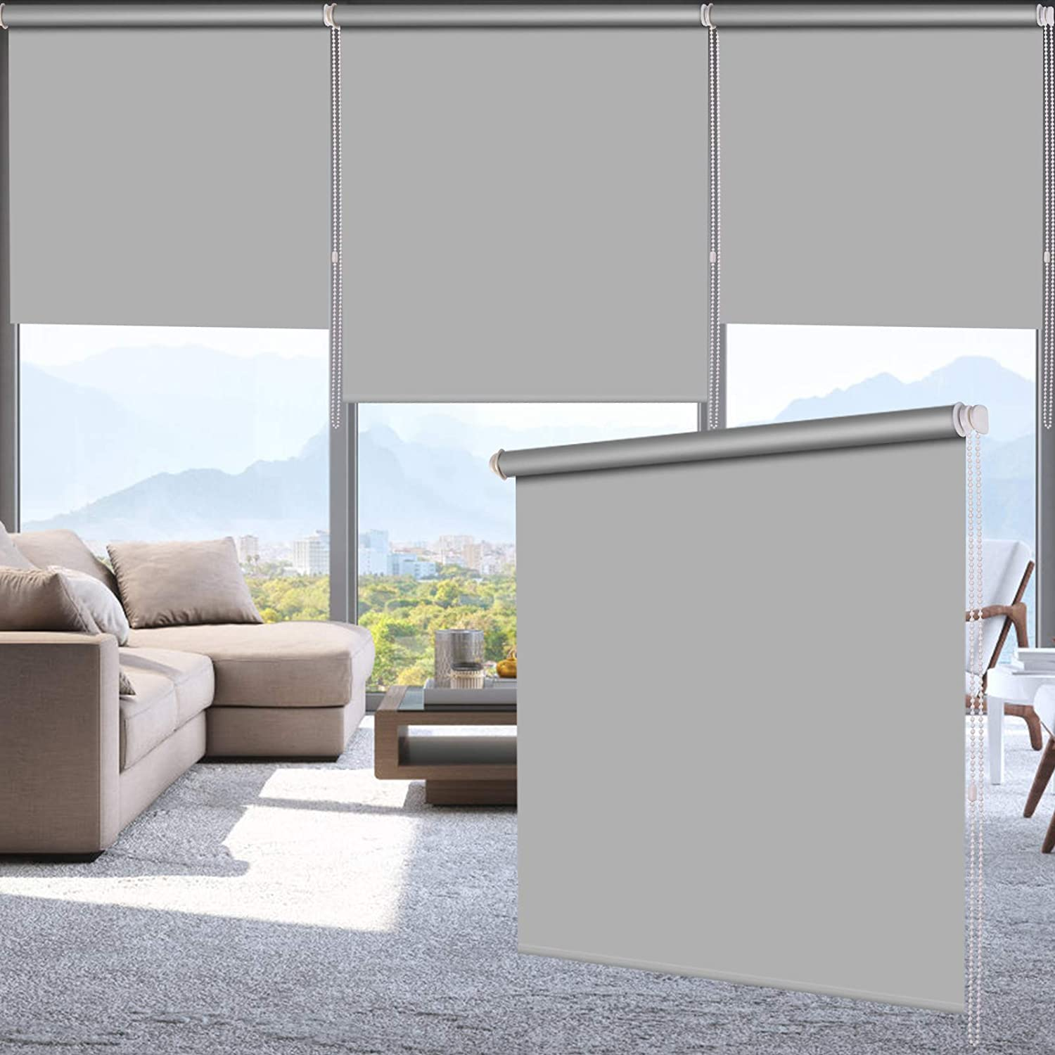 "LUCKUP 100% Blackout Waterproof Fabric Window Roller Shades Blind, Thermal Insulated,UV Protection,for Bedrooms,Living Room,Bathroom,The Office, Easy to Install 34"" W x 79"" L(Grey)"