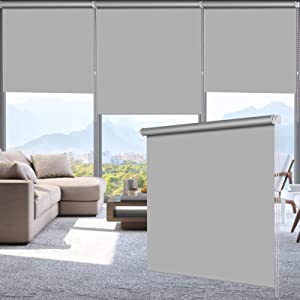 "LUCKUP 100% Blackout Waterproof Fabric Window Roller Shades Blind, Thermal Insulated,UV Protection,for Bedrooms,Living Room,Bathroom,The Office, Easy to Install 22"" W x 79"" L(Grey) …"