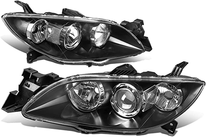 DNA Motoring HL-OH-TCAM15-BK-AM Pair Factory Style Projector Headlight Lamp Replacement