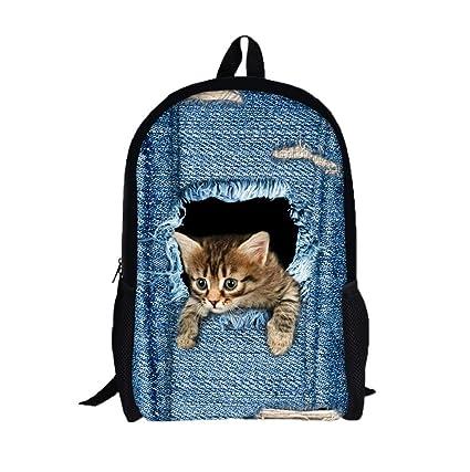 mochilas escolares juveniles, Sannysis mochilas mujer viaje, Gatos 3d impresiones (A)