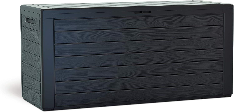 KitGarden Arcón Multiusos de Exterior, Capacidad, 116x44x55cm, Marrón, Multi Storage Box 280L