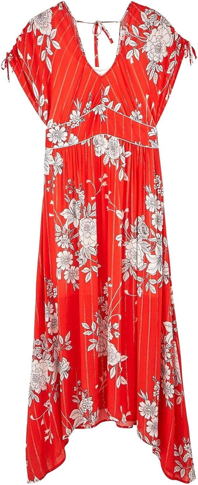 Promod Robe Longue imprimée Femme Imprimé Rouge 48: Amazon