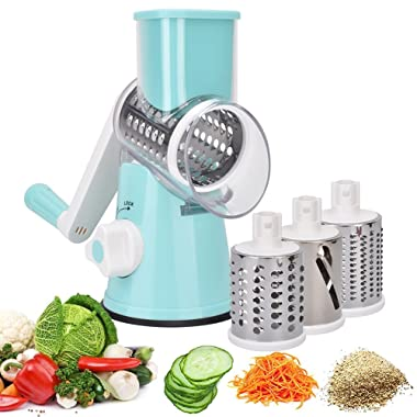 Vovoly Vegetable Mandoline Cheese Slicer Cutter Chopper Shredder Grater With 3 Stainless Steel Blades