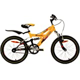 Kids Mountain Bike 18 Inch Krazy Full Suspension Yellow KS Cycling