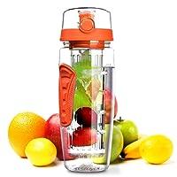 OMORC Bouteille Infusion de Fruits 900ml Bouteille Sport avec Infuseur à Fruits Bouteille d'eau Jus Gourde Infuser Fruit avec Couvercle Anti-Fuite