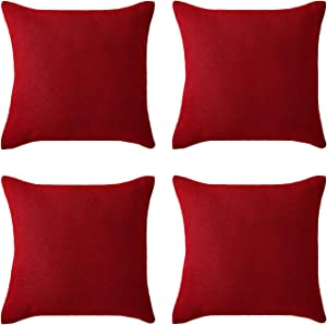 Deconovo Christmas Red Pillow Covers, Soft Faux Linen Chair Seat Cushion Cover for Sofa(18 x 18 Inch, Red, Set of 4, No Pillow Insert)