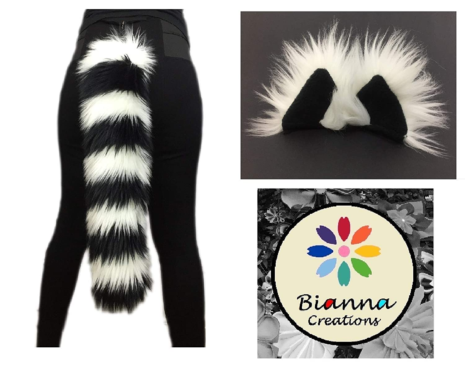 Lemur Set, Black and White Faux Fur, You choose: 20