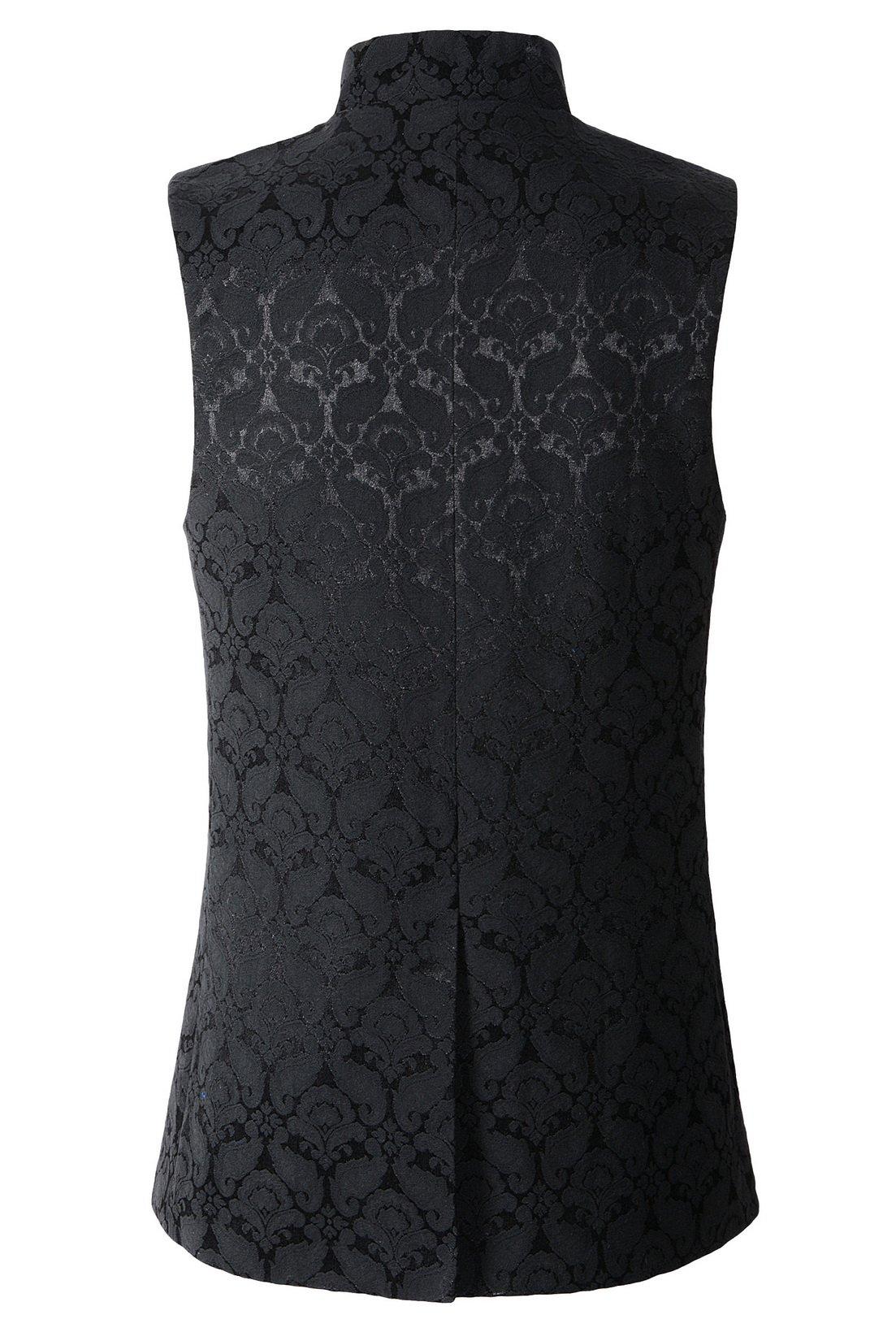 DarcChic Mens Gothic Steampunk Vest Waistcoat Victorian Damask Stand-up Collar Tailcoat 4