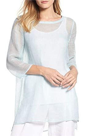 6dbd0d71b0 Image Unavailable. Image not available for. Color  Eileen Fisher Pool Organic  Linen Mesh Bateau Neck Tunic ...