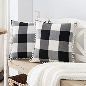 Nestinco Set of 2 Buffalo Check Pillow Covers Black and White Plaid Pom Pom Decorative Throw Pillow Covers 18 x 18 for Farmhouse Home Decor