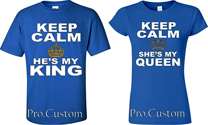 3a458994f2 Keep Calm She's my queen His my King Couple matching funny cute T-Shirts S