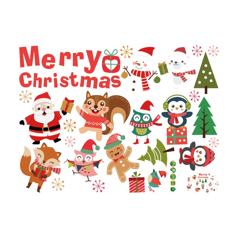 Decdeal Wall Window Stickers Merry Christmas DIY Removable Santa Claus Snowman Wall Art Decals