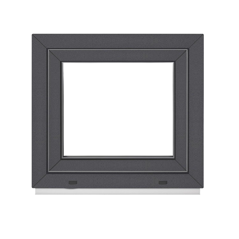 au/ßen Anthrazit Dreh Kipp innen wei/ß BxH: 50x40 cm DIN Rechts Kellerfenster PVC Fenster 2 Fach Premium