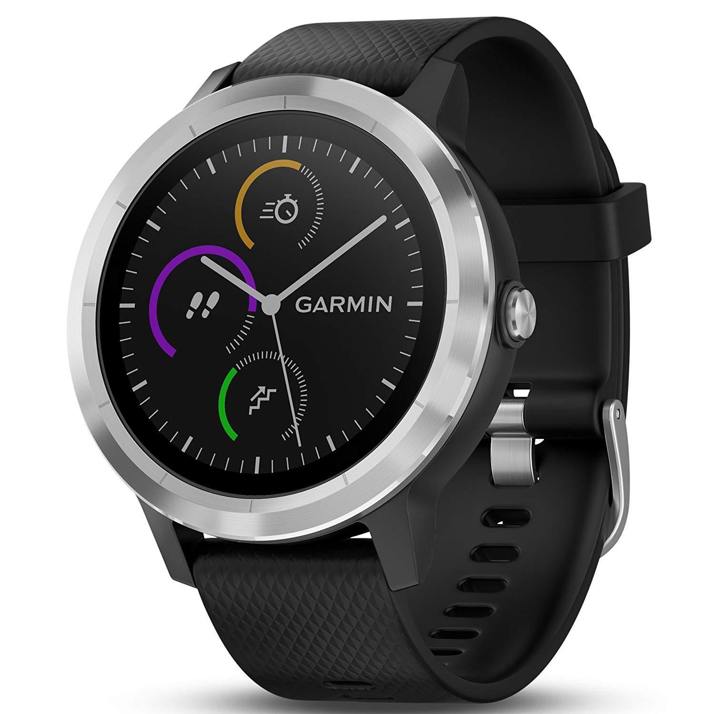 Garmin 010-01769-01 Vivoactive 3 GPS Fitness Smartwatch Black Stainless 1 Year Extended Warranty