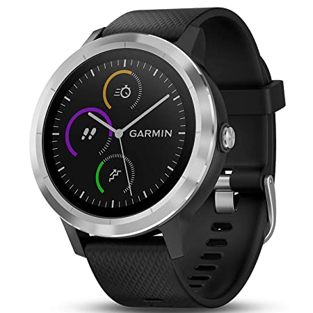 Garmin 010-01769-01 Vivoactive 3 GPS Fitness Smartwatch Black Stainless 1 Year Extended Warranty
