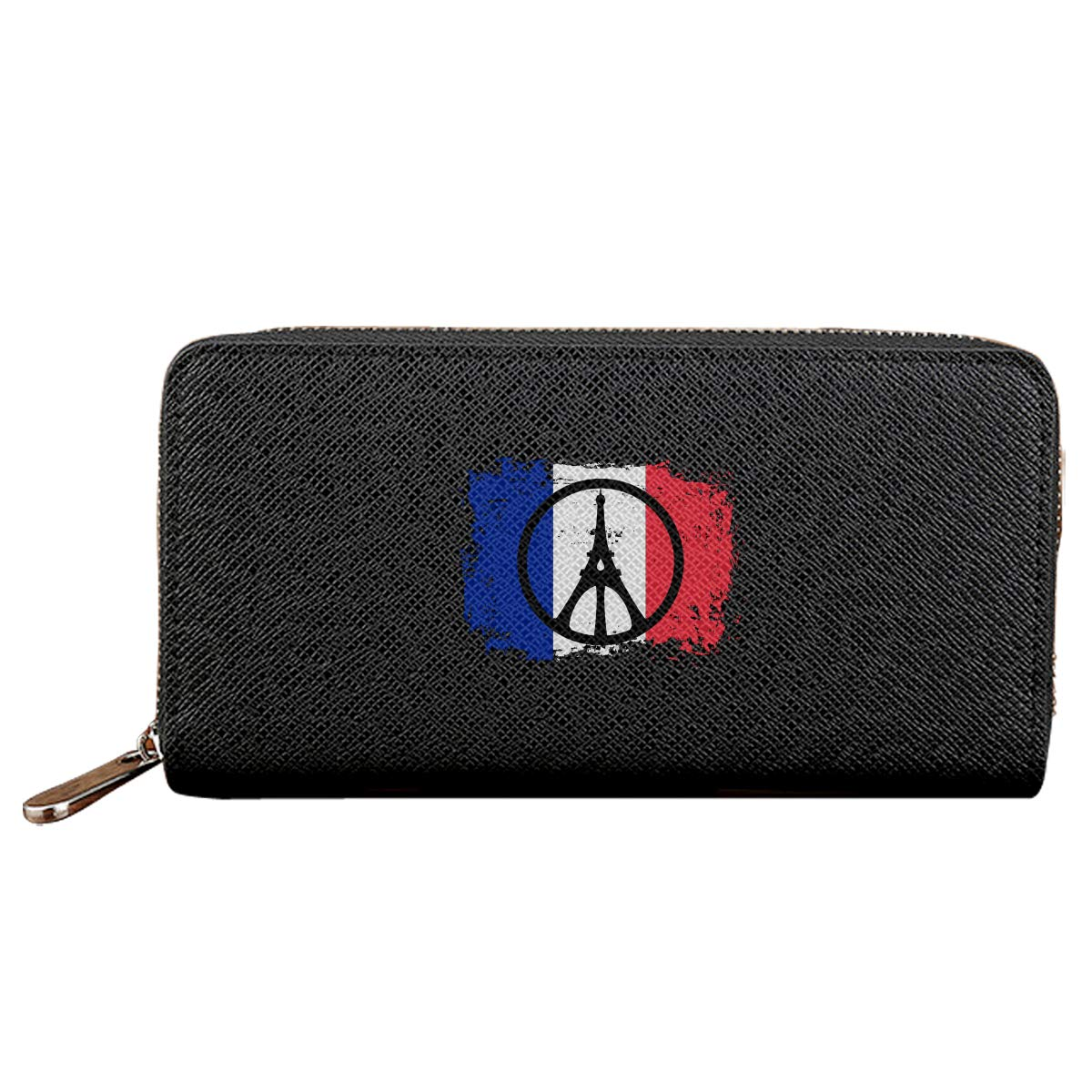 Peace For Paris France Eiffel Tower Long Wallets For Men Women Leather Wallet Cute Zipper Wallet