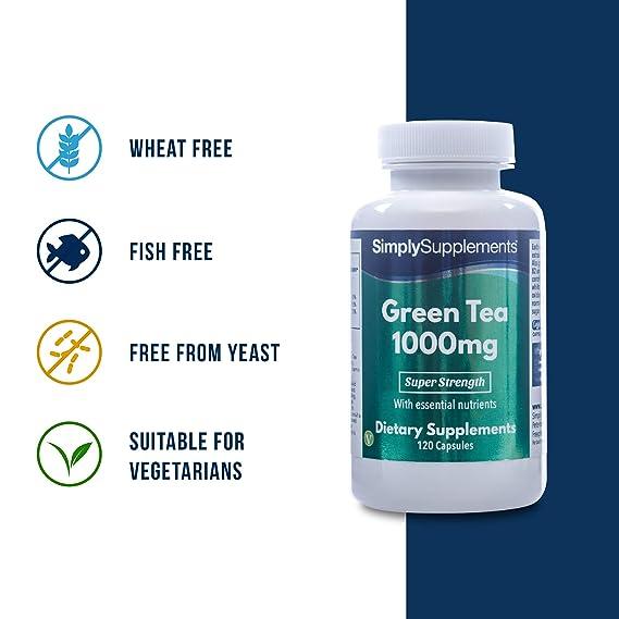Té Verde 1000 mg - Favorece la pérdida de peso - 120 cápsulas - Hasta 40 días de suministro - SimplySupplements