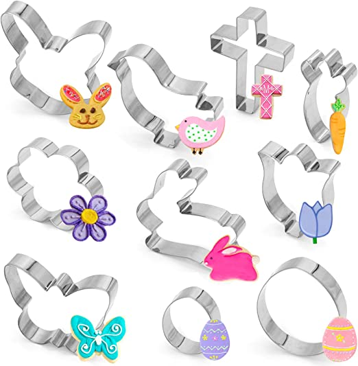 Rabbit Face Cross Egg Easter COLORS Cookie Cutters 3 pc
