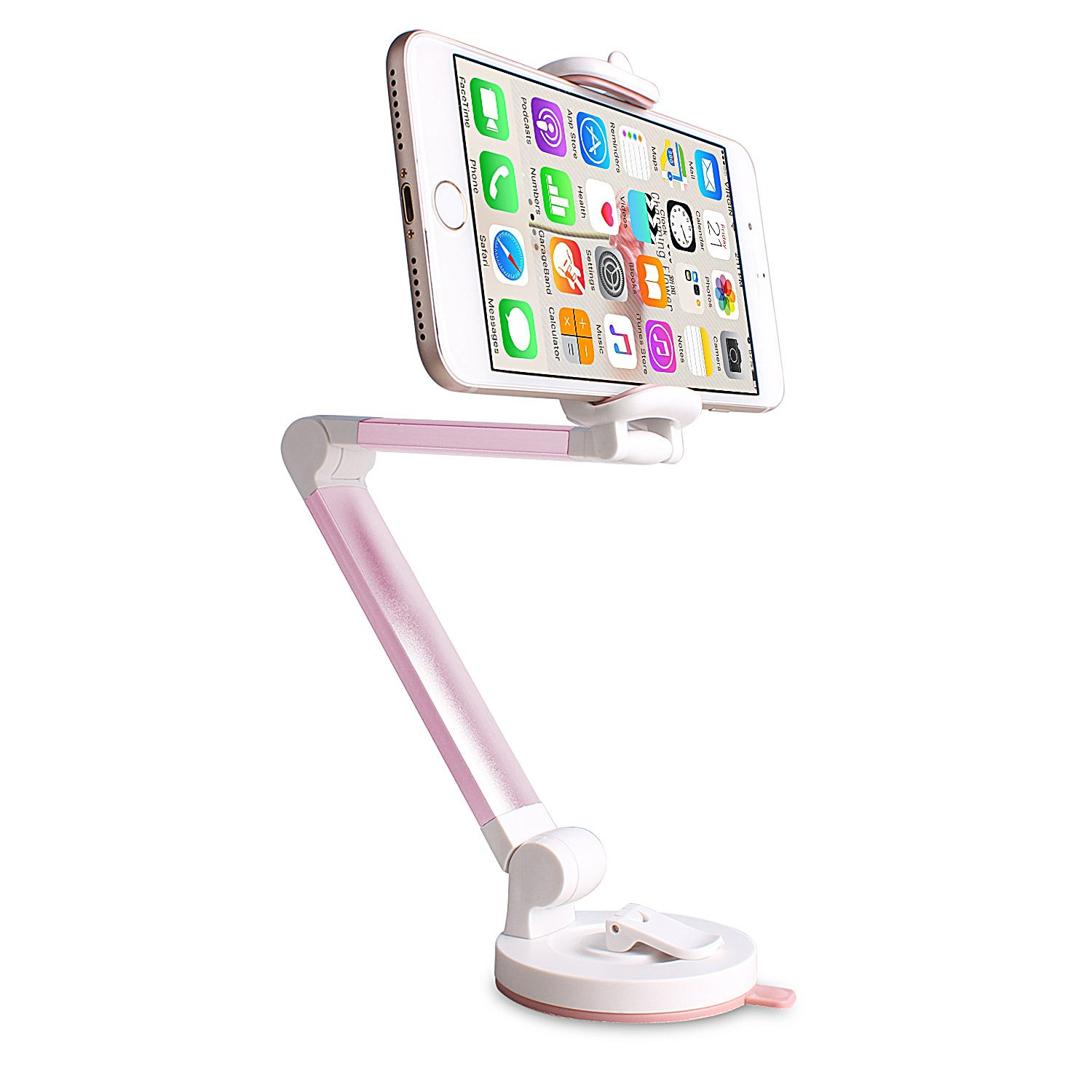 Mblai Windshield Dashboard Desktop Foldable Universal Car Mobile Phone Cradle with Strong Suction Cup for iPhone Car Phone Mount Holder Android Smart Phone holder-1 Pink
