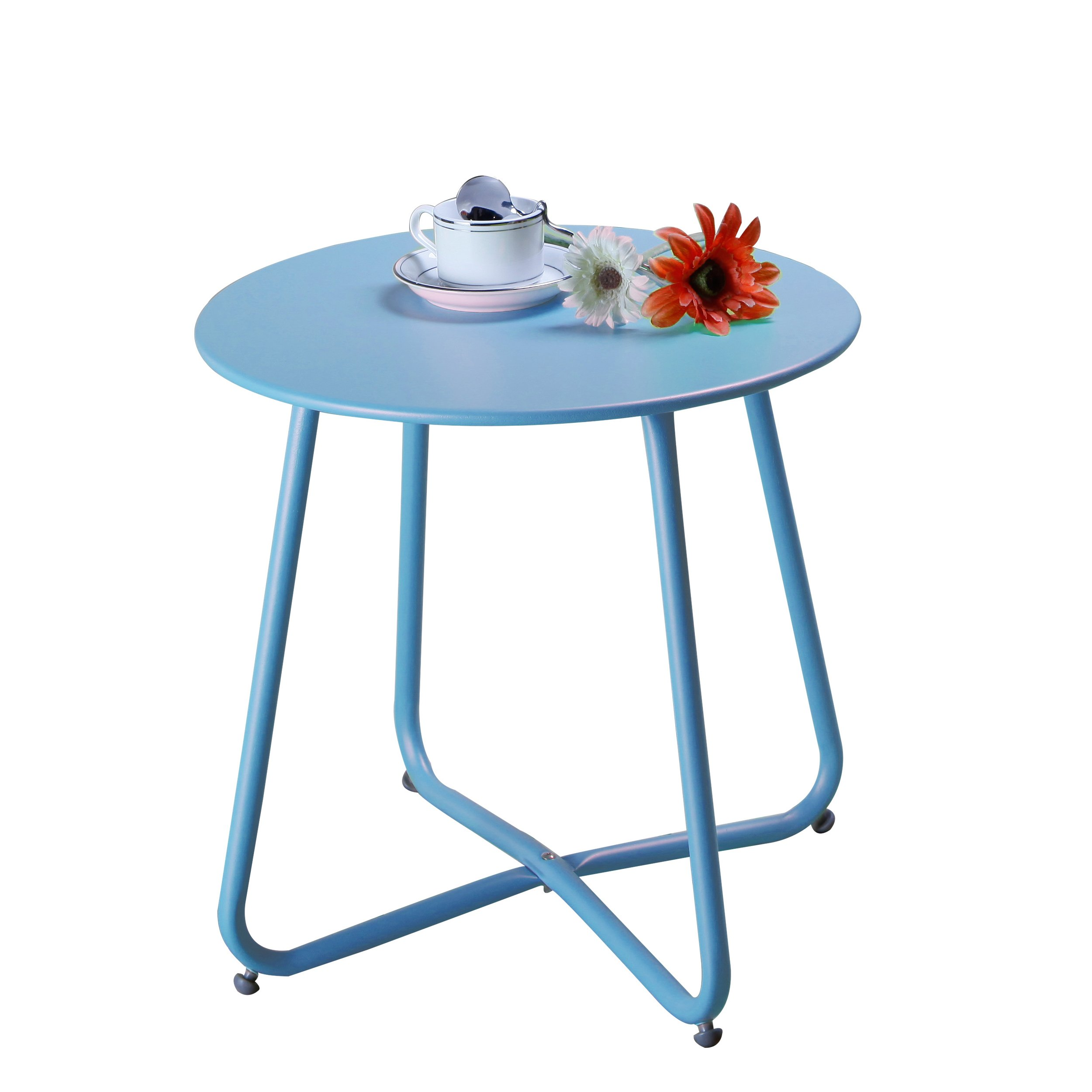 Grand patio Steel Patio Coffee Table, Weather Resistant Outdoor Side Table, Small Round End Tables, Blue