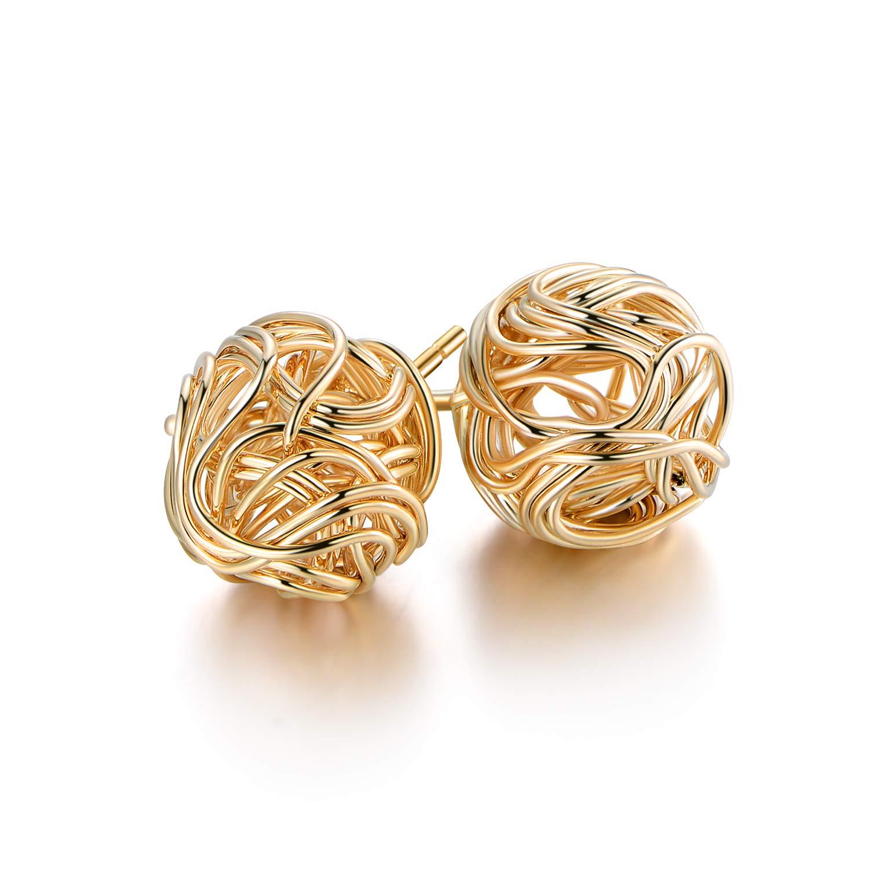 Barzel 18K Gold Plated Gold 10mm Woven Love Knot Stud Earrings by Barzel