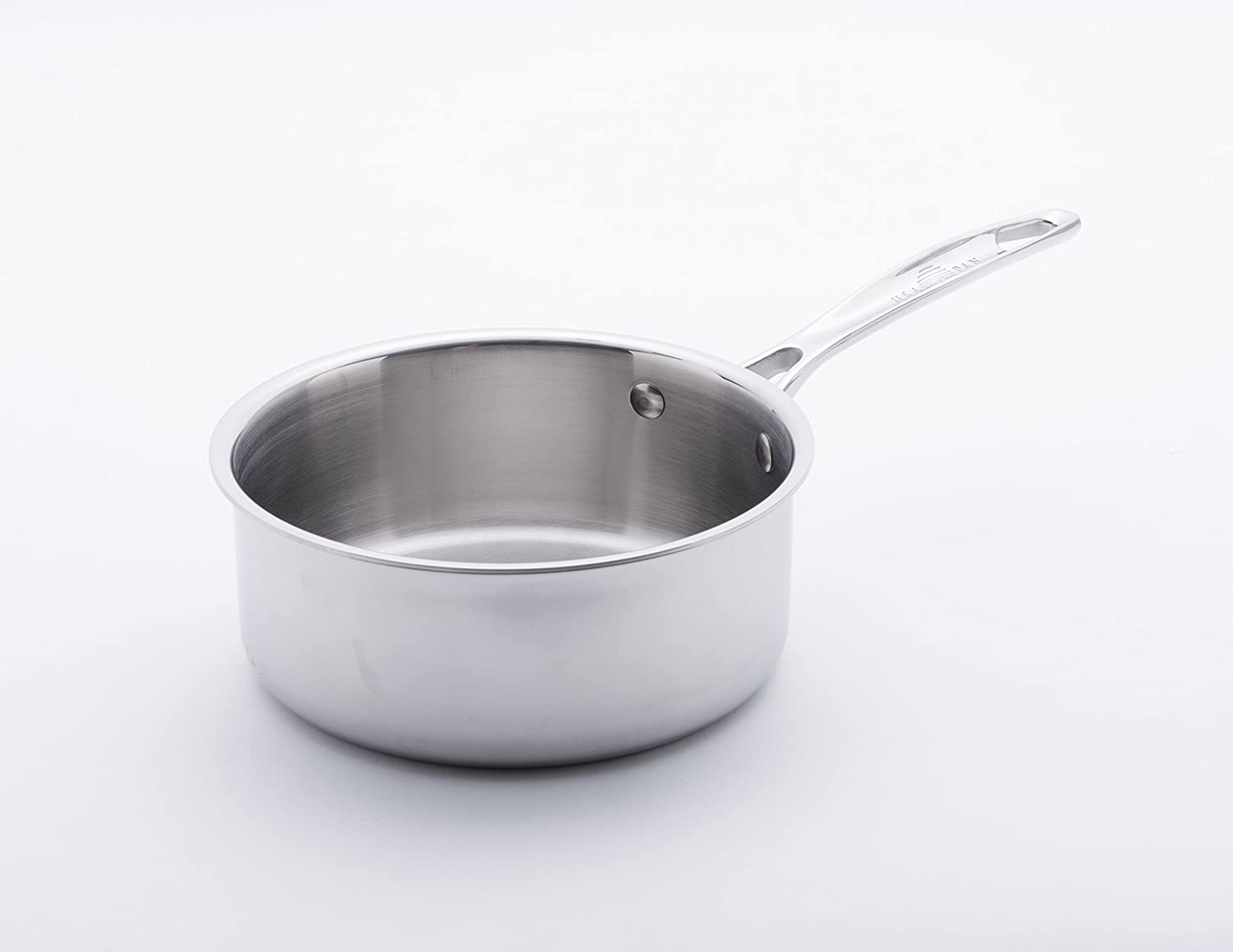 USA Pan 1505CW-1 Cookware 5-Ply Stainless Steel 8 Inch Sauce Pan with Cover Silver Oven and Dishwasher Safe Made in the USA 8-Inch