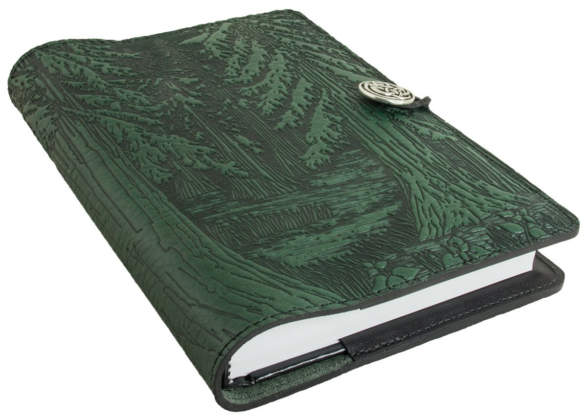 Genuine Leather Refillable Journal Cover + Hardbound Blank Insert - 6x9 Inches - Forest, Green With Pewter Button - Made in the USA by Oberon Design