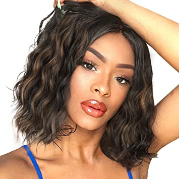 Stamped Glorious Wigs for Women Wavy Short Wig Middle Part Synthetic Shoulder Length 14 Inch Natural Looking Heat Resistant Fiber Hair (Black Mixed Brown)