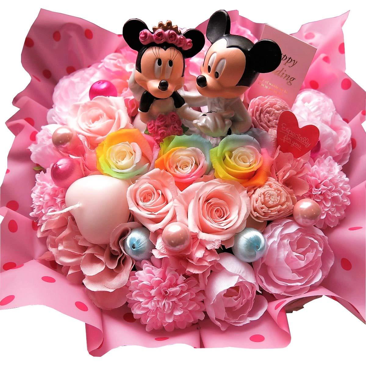 ディズニー 結婚祝い フラワーギフト ミッキー ミニー ウェディング フィギュア入り レインボーローズ プリザーブドフラワー 入り クリアーケース付き B078HJ3R48