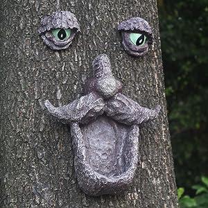 Tree Faces Decor Outdoor, Old Man Wild Bird Feeder Tree Face Decor Outdoor Tree Hugger Sculpture Statues in The Dark Eyes Garden Decor Yard Art