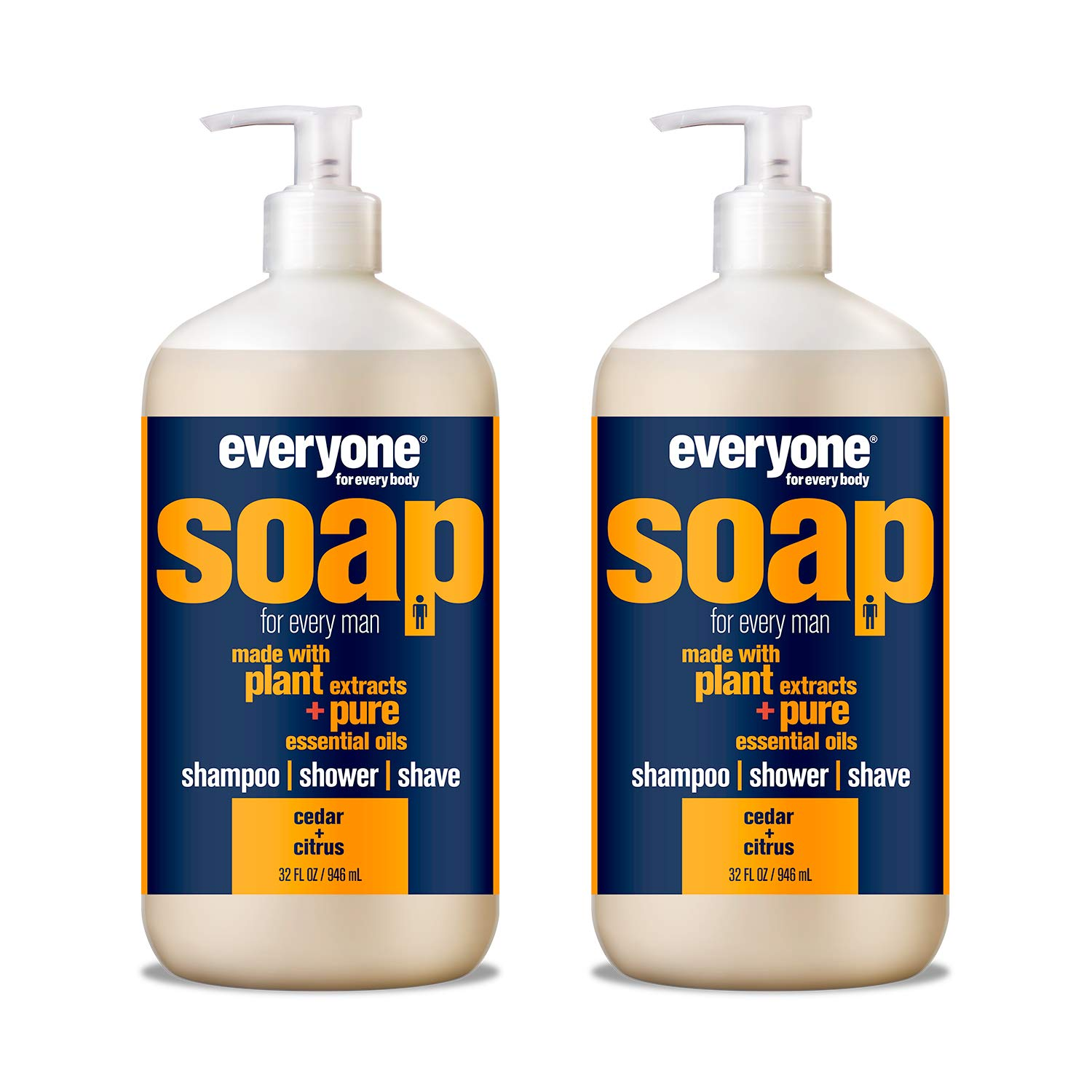 Everyone Men's 3-in-1 Soap - Body Wash, Shampoo, and Shave Gel - Cedar + Citrus, 32 Ounces, 2 Count by Everyone