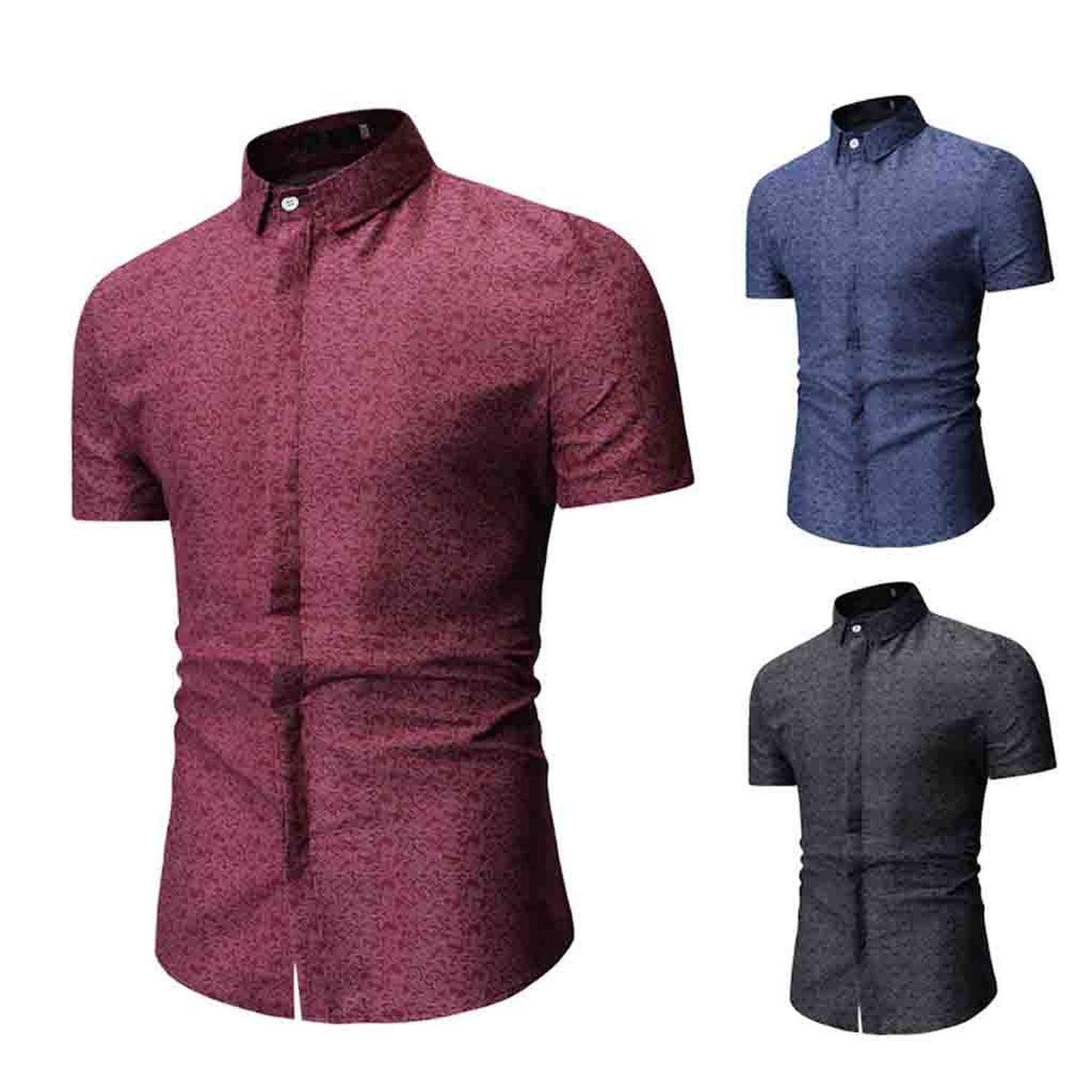 EspTmall Plus Size Men Shirt Summer 2019 Short Sleeve Turn-Down Collar Men Formal Shirts Vintage Korean Style Men Red L United States