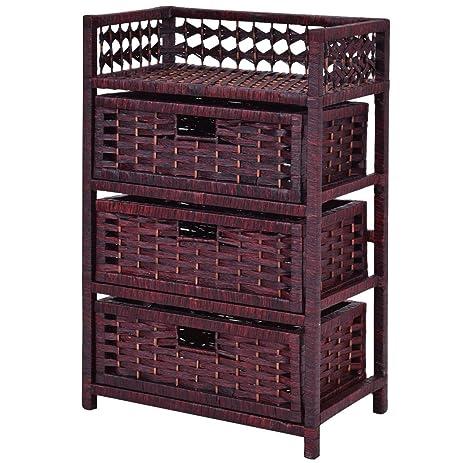 Storage Unit Tower Shelf 3 Drawer Wicker Baskets Storage Chest Rack Wood Frame  sc 1 st  Amazon.com & Amazon.com: Storage Unit Tower Shelf 3 Drawer Wicker Baskets Storage ...