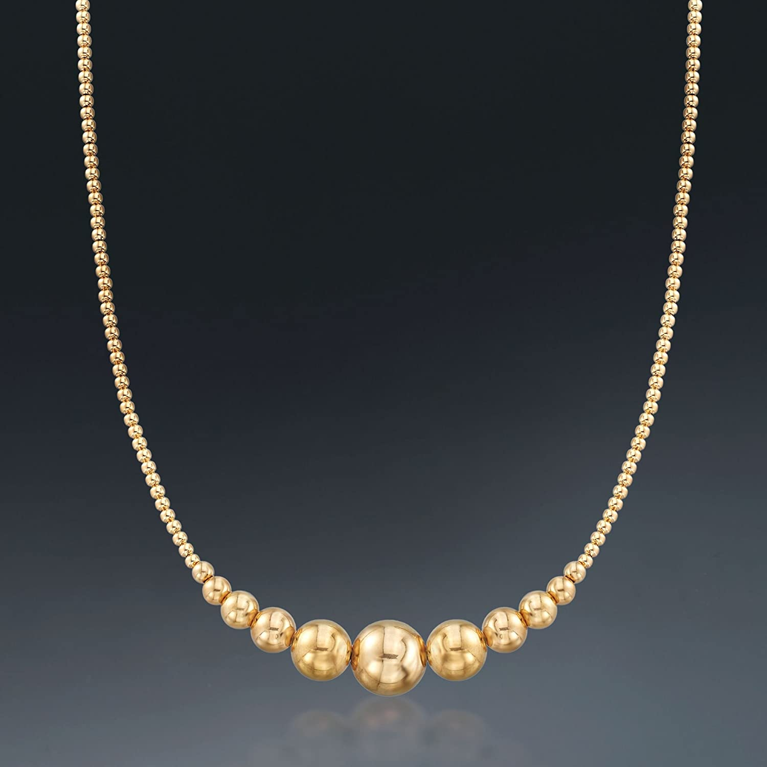 Ross-Simons 2-10mm 14kt Yellow Gold Graduated Bead Necklace