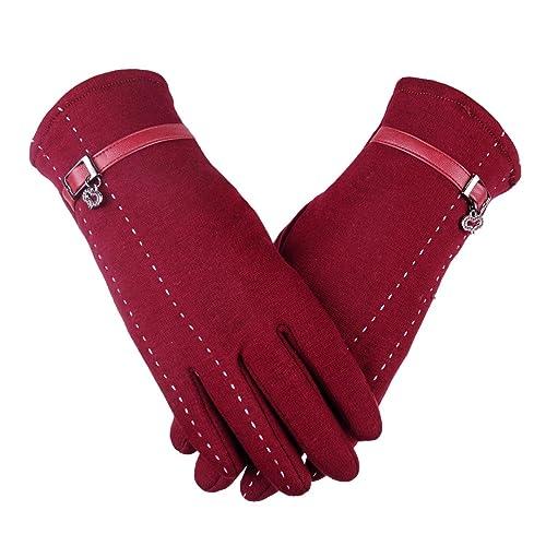 Señora de la moda elegante más terciopelo de pantalla táctil cálida guantes invierno al aire libre m...