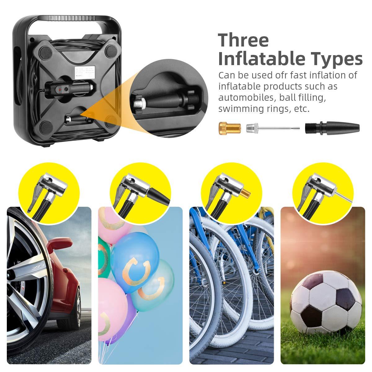 WindGallop Tyre Inflator Air Compressor Car Air Pump for Car and Bike Tyre Pump DC 12V Preset Digital Tyre Pressure Gauge Valve Adaptors LED Light LCD Screen for Motorbike Football Inflatable