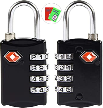TSA Approved 3 Digit Luggage Cable Locks Re-settable Travel TSA Lock 2Packs Small Combination Padlock