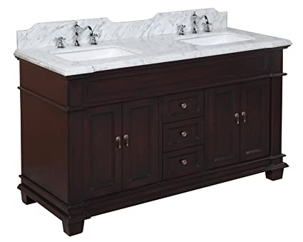 Kitchen Bath Collection KBC599BRCARR Elizabeth Double Sink Bathroom Vanity  with Marble Countertop, Cabinet with Soft Close Function and Undermount ...