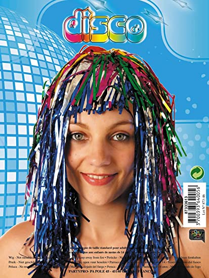 Party Pro 87333613 Violet Disco Wig, Multi-Colour