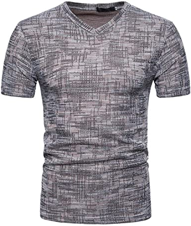 Camisetas Hombre Manga Corta, Venmo Hombres Verano Casual SOID Agujero V Cuello Camisetas Deporte Ropa Deportiva Camisa de Manga Corta: Amazon.es: Ropa y accesorios