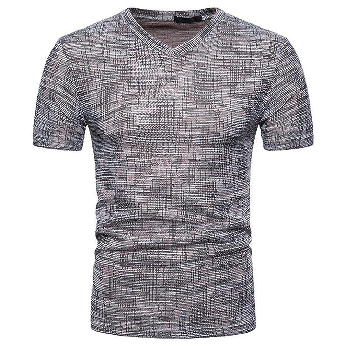 7cdd9b46cd1 Camisetas Hombre Manga Corta,Venmo Hombres Verano Casual SOID Agujero V  Cuello Camisetas Deporte Ropa