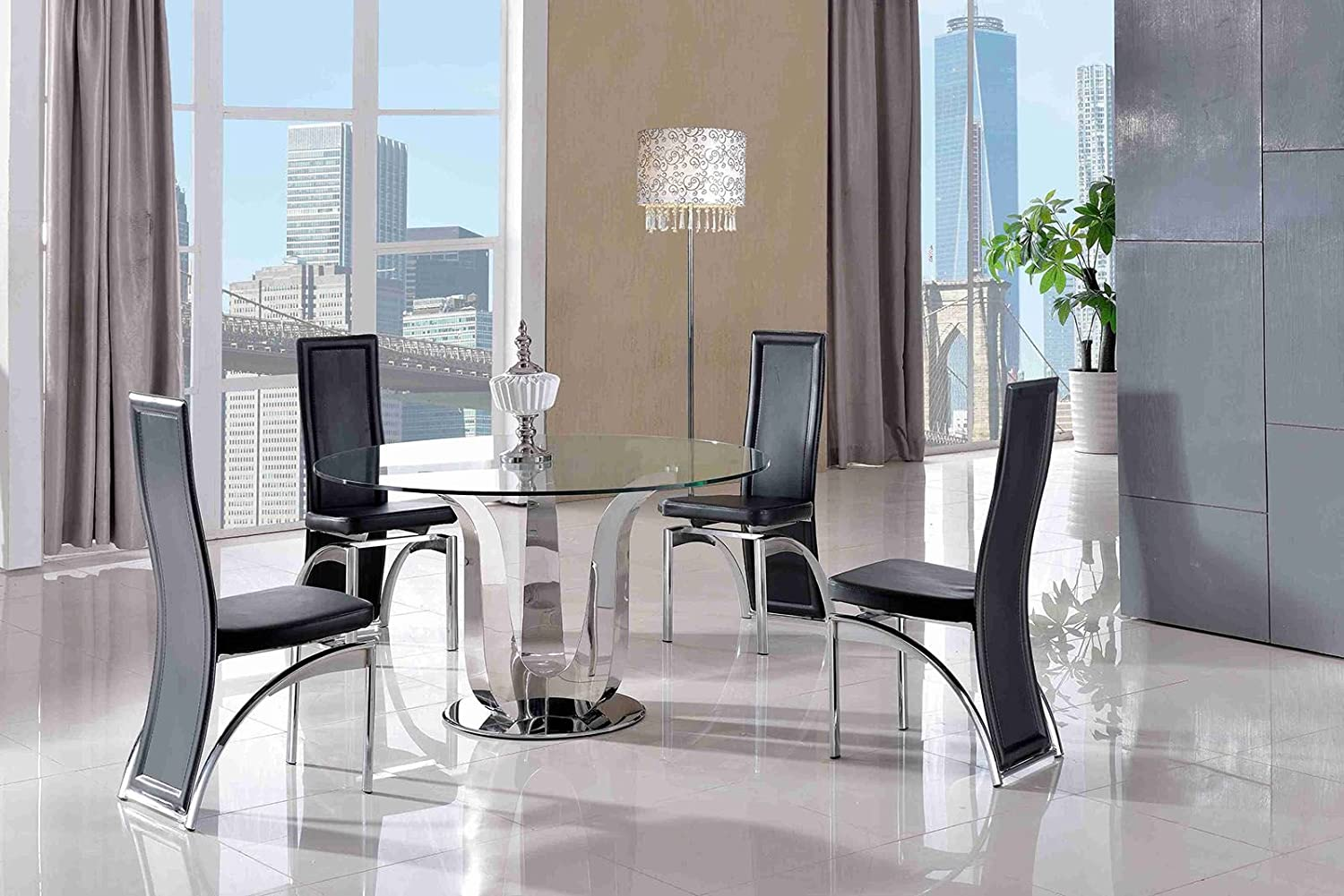 Modern furniture direct naples 130cm round steel glass dining table and 4 faux leather black chairs 130cm diameter tempered glass steel fast