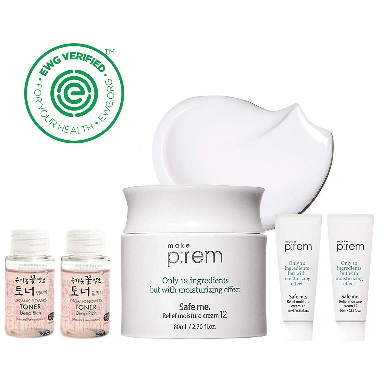 MAKEP:REM Safe Me. Relief Moisture Cream l 80ml + 20ml / 3.38 fl.oz. with Whamisa Organic Essence Toner 40ml | Hypoallergenic Moisture Day Cream/Night Cream for Sensitive Skin by MAKEPREM MAKE P:REM