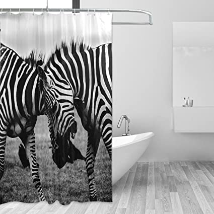 Image Unavailable Not Available For Color DEYYA Custom Zebra Print Bathroom Curtain